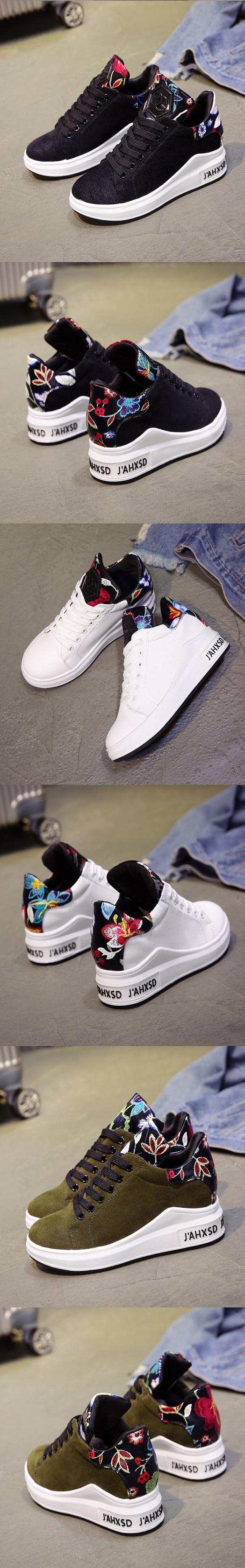 รองเท้าผ้าใบแฟชั่นเสริมสูง 6cm ไซต์ 35-40