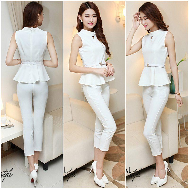 **สินค้าหมด Set_bt1463 ชุดเซ็ท 2 ชิ้น(เสื้อ+กางเกง)แยกชิ้น เสื้อแขนกุดทรงสวยมีซิปหลังใส่ง่าย+กางเกงขายาว ผ้าหนาสวยเนื้อดีสีพื้นขาวสุดคลาสสิค ผ้าเนื้อดีเกรดพรีเมี่ยมยืดขยายได้ งานสวยเข้ารูปทรงเป๊ะเวอร์
