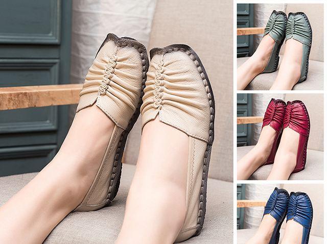 รองเท้าหุ้มส้น รองเท้าหนังแท้ รองเท้าผู้หญิง แฟชั่น ดีไซน์ หนังนิ่ม ใส่สบาย ยืดหยุ่นสูง ออกแบบ จับจีบ หน้าเท้า สีเบจ สีครีม สีสุภาพ 474582_3