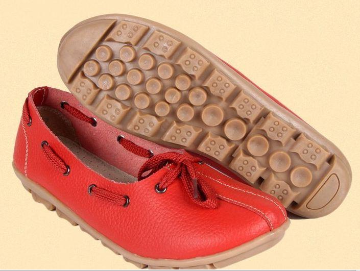รองเท้าหุ้มส้น ผู้หญิง รองเท้าหนังแท้ รองเท้าคัทชู สีพื้น ดีไซน์ เป็นเชือก ร้อยรอบรองเท้า สไตล์เกาหลี หวาน ๆ น่ารัก สีแดง no 320438_2