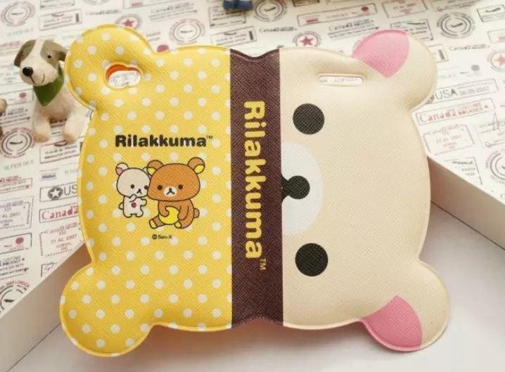 เคส iphone 6 6 plus เคสลายการ์ตูนดัง Rilakkuma รูปหน้า พับครึ่งได้ กางออกเป็นหน้าเต็ม หนัง pu กันน้ำ สีเหลือง ลายจุด 108123_3
