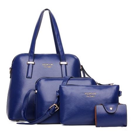 [ ลดราคา พร้อมส่ง Hi-End ] - กระเป๋าแฟชั่น นำเข้าสไตล์เกาหลี Set 4 in 1 สีน้ำเงิน ดีไซน์แบรนด์ดังแบบยุโรป งานหนังคุณภาพ แบบสวยเรียบหรู ดูไฮโซสุดๆน่าใช้ คุ้มค่ามากๆค่ะ