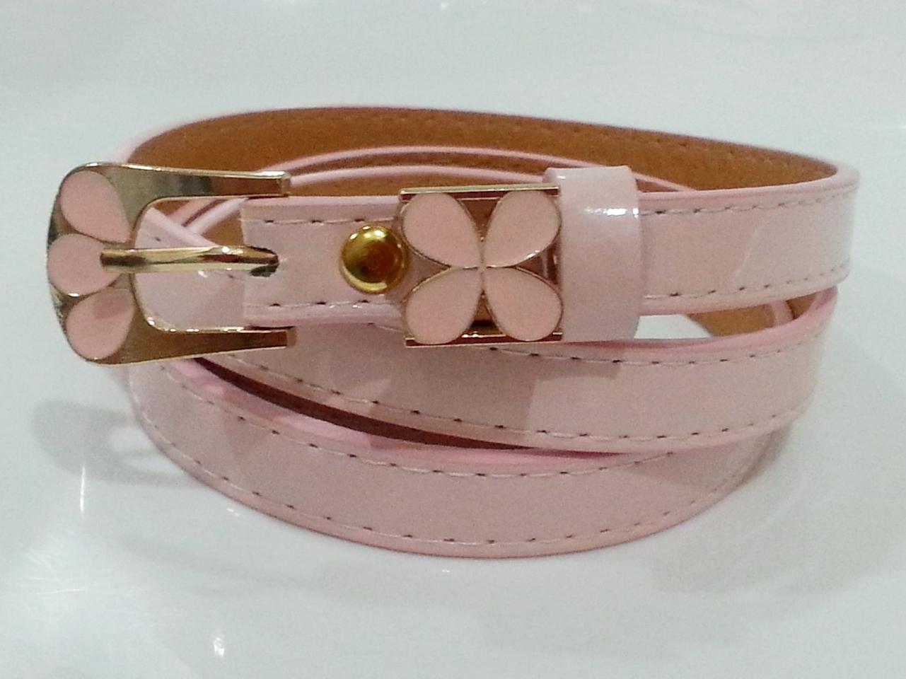เข็มขัด ดอกไม้สีชมพู Pink Flower Belt