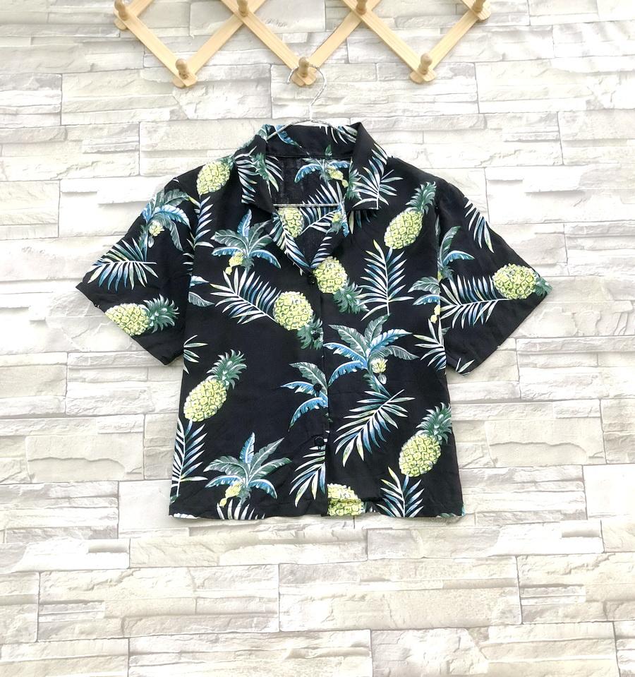 ส่ง:เสื้อปกฮาวายผ้าสปันลายสัปปะรดสดใส่สบาย/อก38