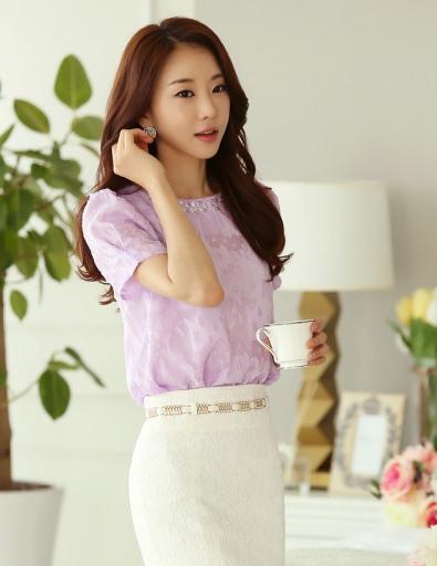 เสื้อทำงานสีม่วงผ้าลูกไม้แขนสั้นแฟชั่นน่ารักๆ