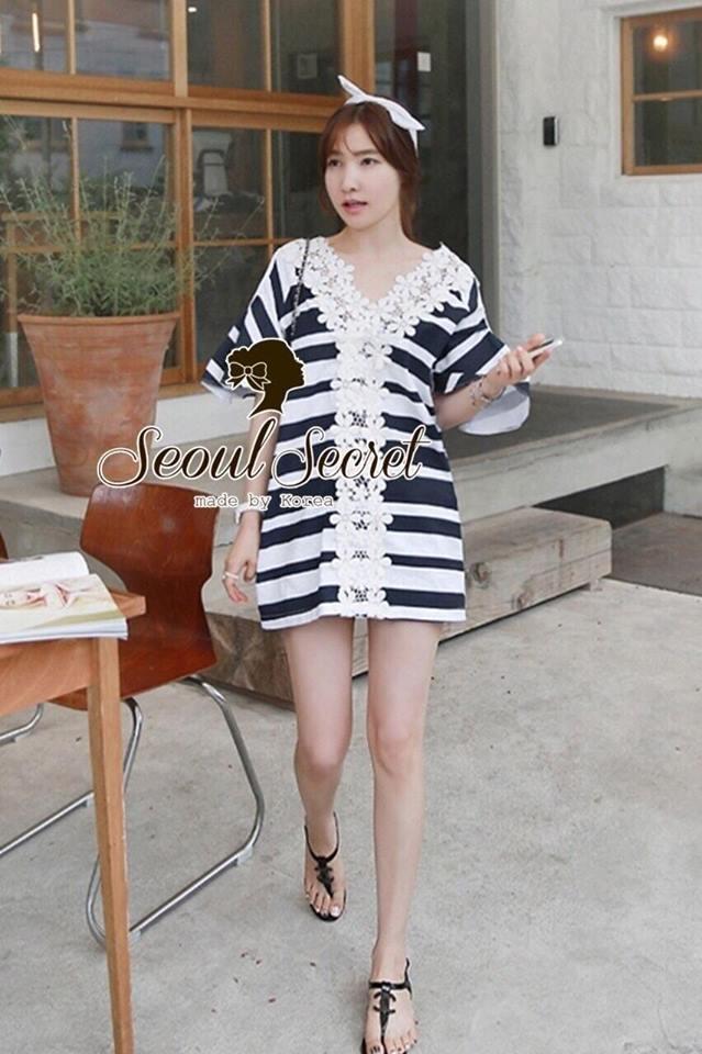Chicly V Shape Lace Cotton Stripy Dress by Seoul Secret