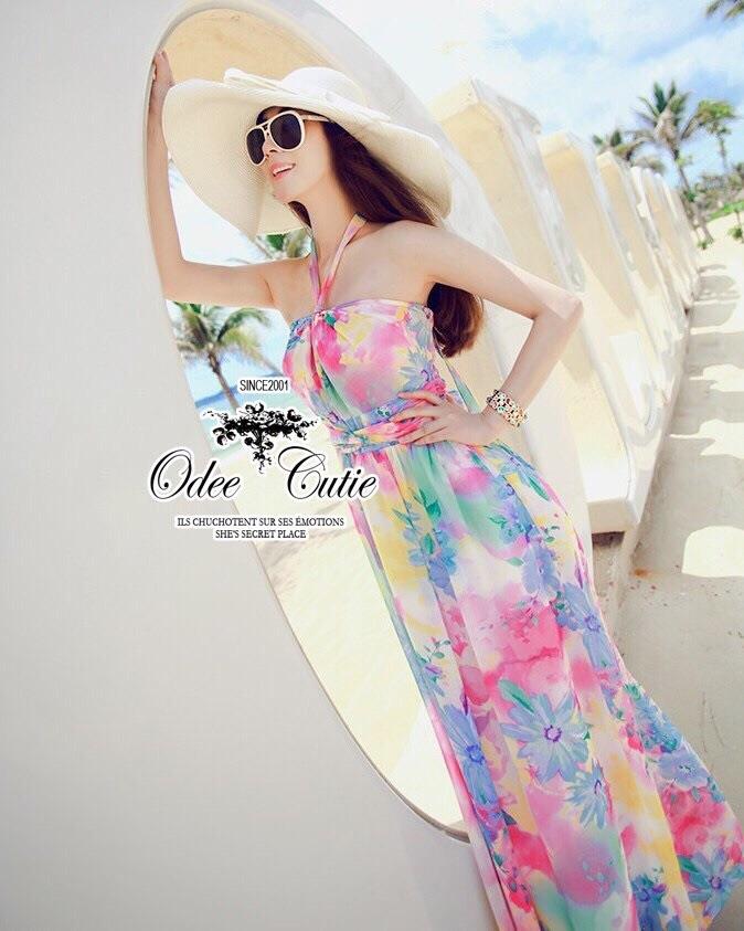 Pastel flowers paint maxi dress