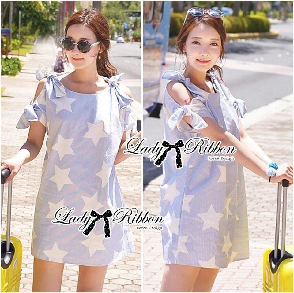 Twinkle Star Ribbon Curve-shoulder Loose Mini dress