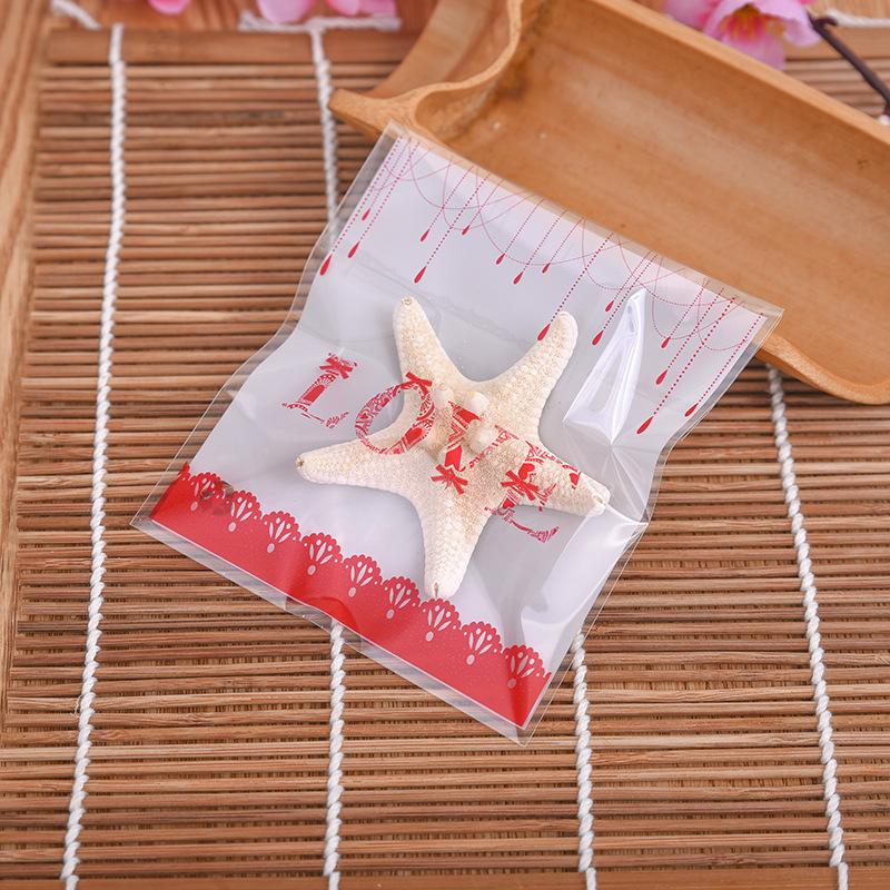 ถุงเบเกอรี่ ถุงขนมปัง แบบมีเทปกาว รูป Love 100 ใบ/ห่อ (10*10+3 cm.)