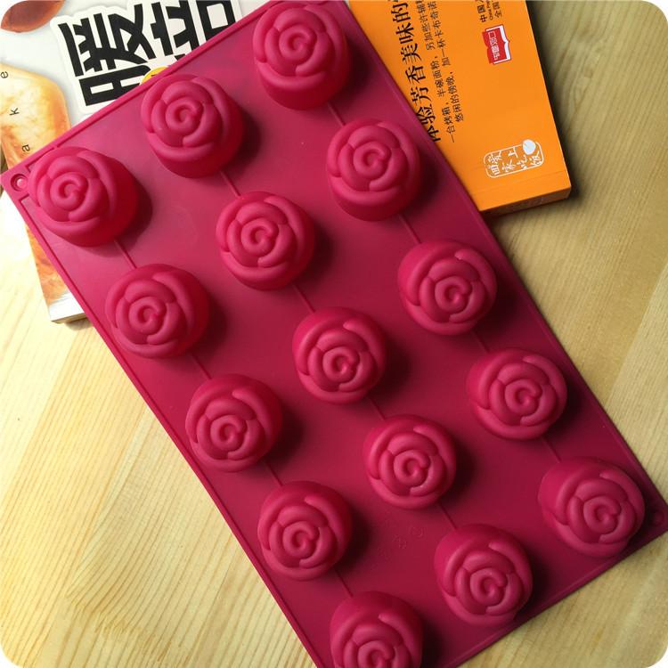 พิมพ์ซิลิโคน รูปดอกกุหลาบ (ใหญ่) 15 ช่อง