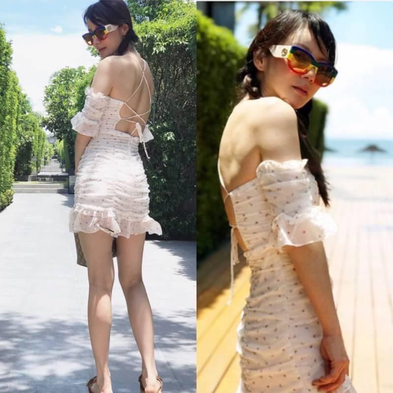mini dress ลายหน้ารักๆสีตุ่นพิมพ์ขนผื่นผ้าสีดูโ