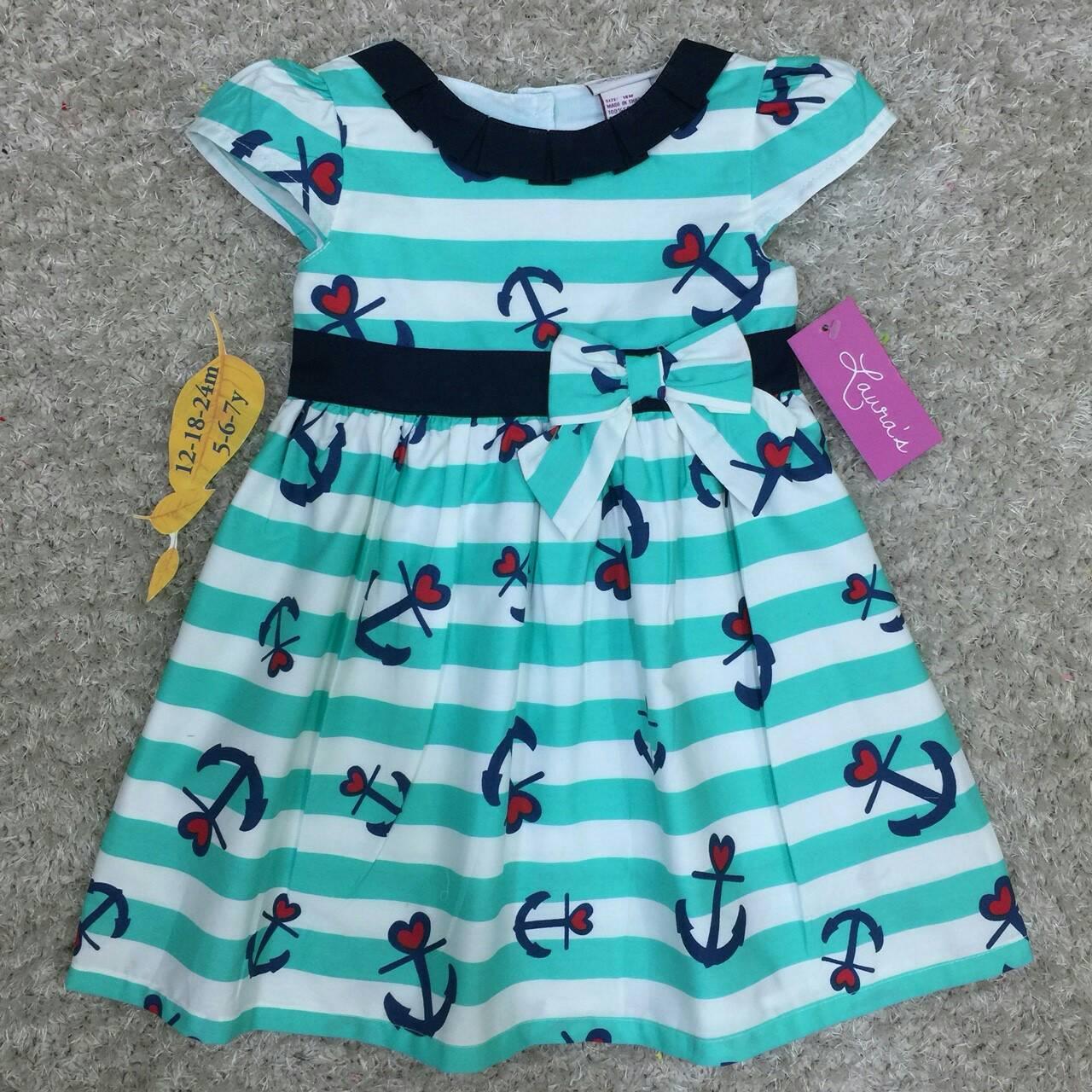 เสื้อผ้าเด็ก 5-7ปี size 5Y-6Y-7Y ลายสมอ สีเขียวมิ้นต์