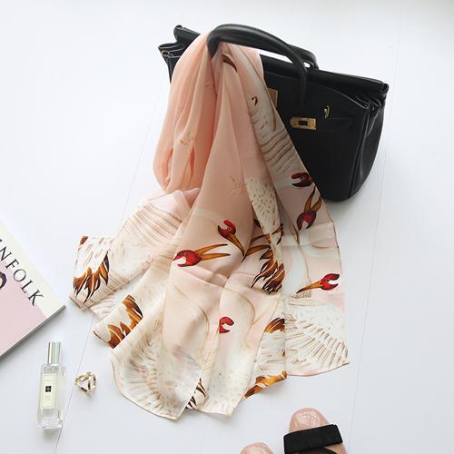 ผ้าพันคอ ผ้าคลุม ไหมญี่ปุ่น สกรีนลาย SJ01-010