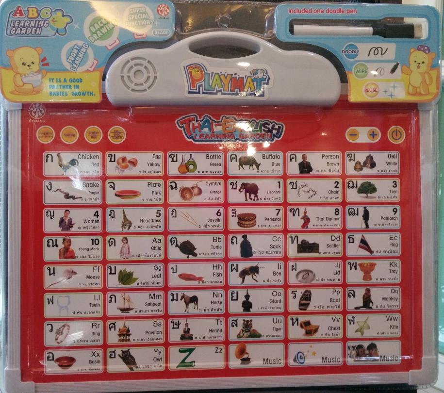 แผ่นเรียนรู้ตัวอักษรภาษาไทย และ ภาษาอังกฤษ แบบอย่างหนา