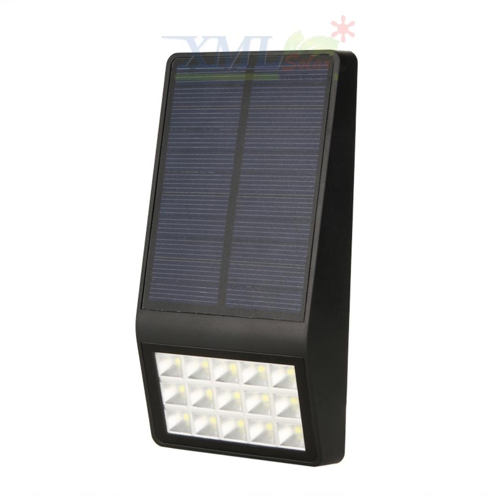 โคมไฟโซล่าเซลล์ ติดผนัง 15 SMD LED (ตัวแบน ดำ) (เเสง : ขาว)