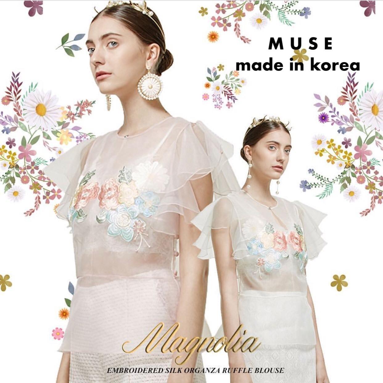 เสื้อผ้าเกาหลีพร้อมส่ง เสื้อซีทรูแขนสั้น ด้านหน้าปักดอกไม้สีสันสดใส