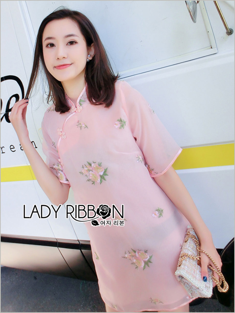 Mia Sweet Floral Embroidered Qipao Dress