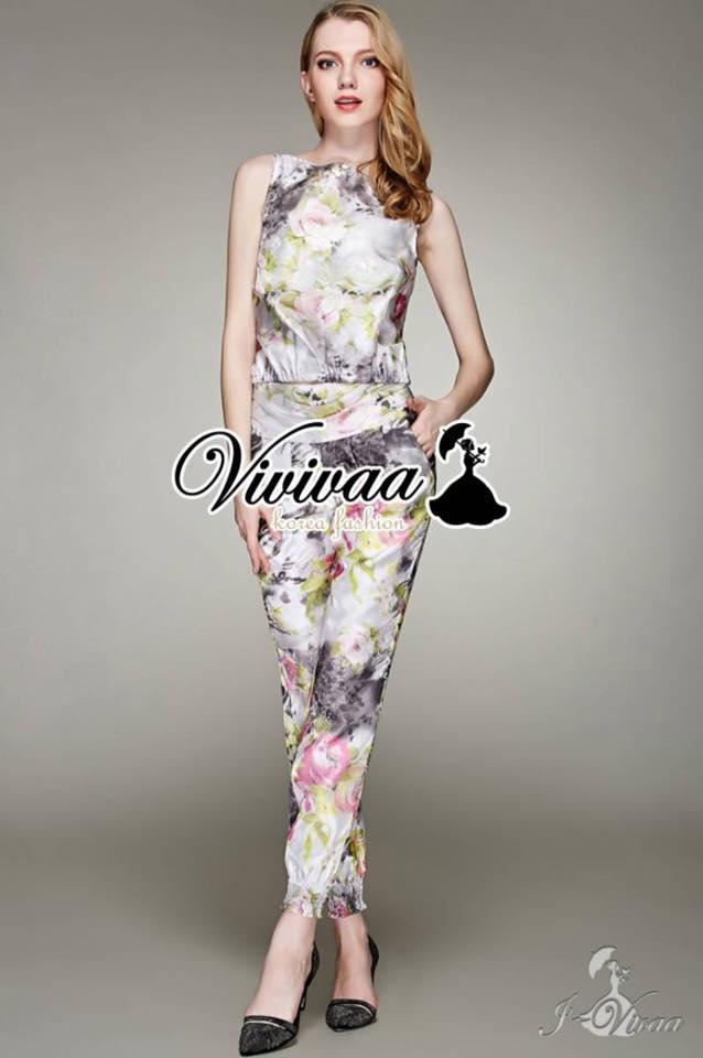 เสื้อผ้าเกาหลี พร้อมส่งเซ็ตเสื้อกางเกงงานพิมพ์ลายดอกไม้สไตล์สาววินเทจ