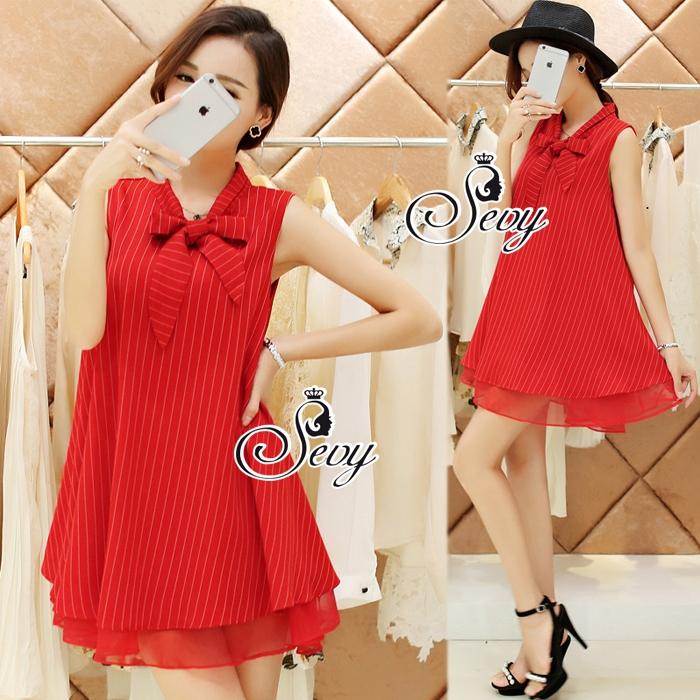 So Hot Ribbon Neck Sleeveless A Line Mini Dress