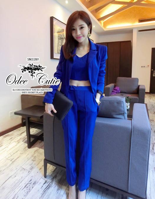 ( พร้อมส่งเสื้อผ้าเกาหลี) ชุดเซ็ท 3ชิ้น bra top, jacket suit, trousers