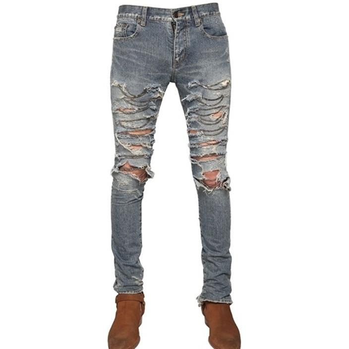 กางเกงSaint Laurent ฺBlue Distressed Chain Jeans 1:1