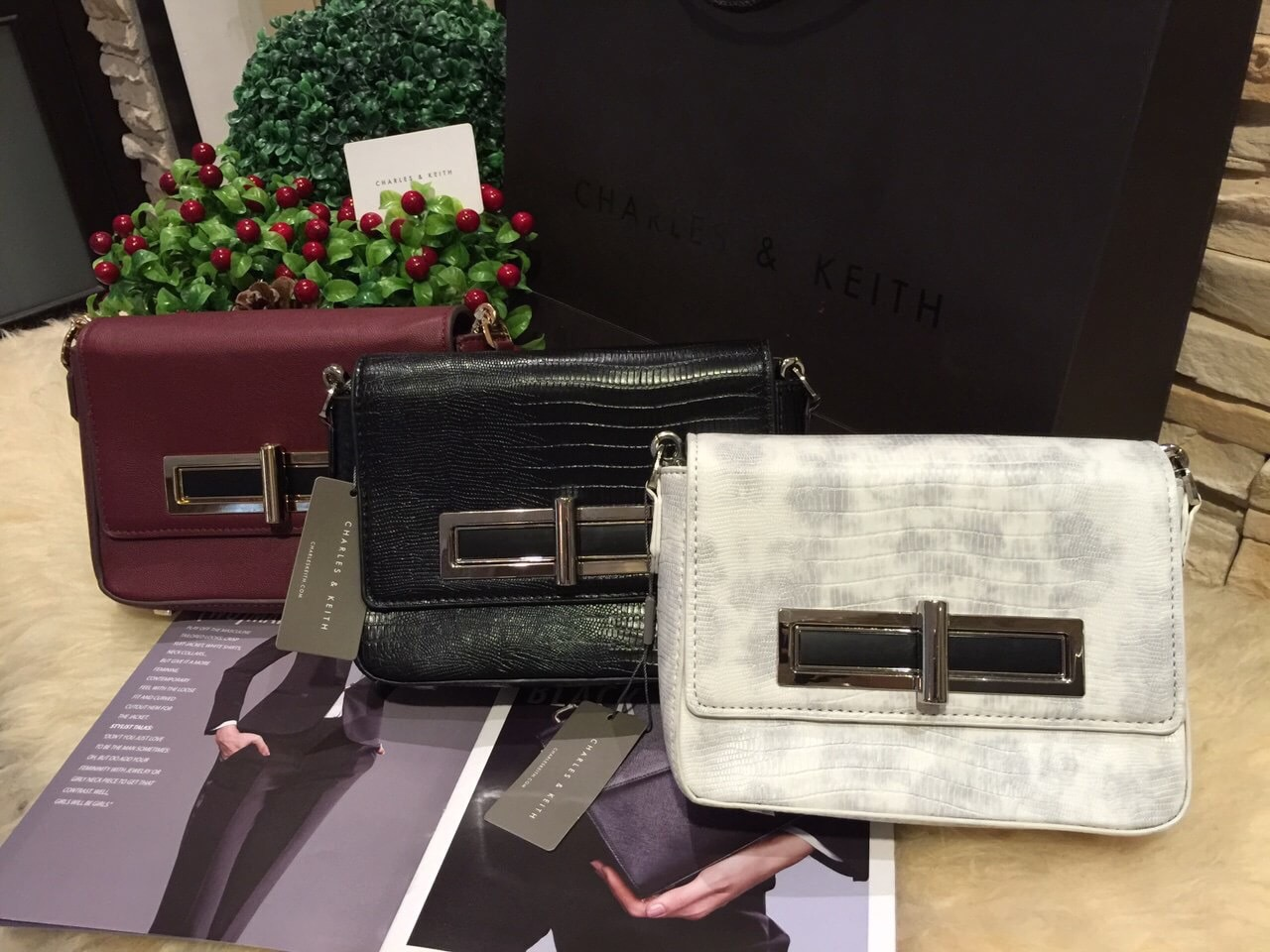 CHARLES & KEITH TURN-LOCK CROSSBODY OUTLET BAG