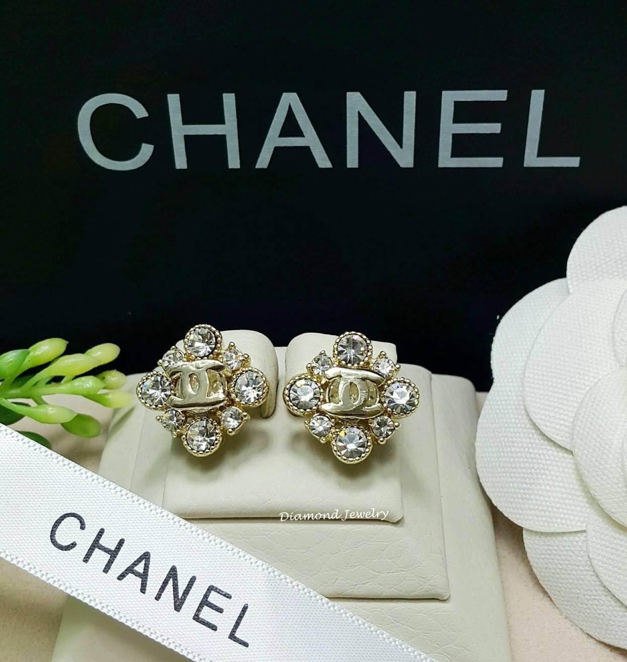 พร้อมส่ง ต่างหู Chanel งานเพชร CZ แท้ เพชรคัดเกรด 6A
