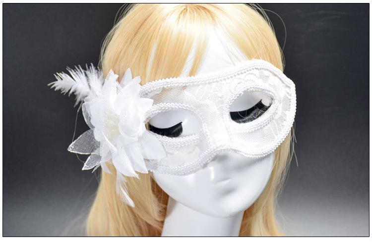 หน้ากากแฟนซีลูกไม้ติดดอกไม้ ขาว