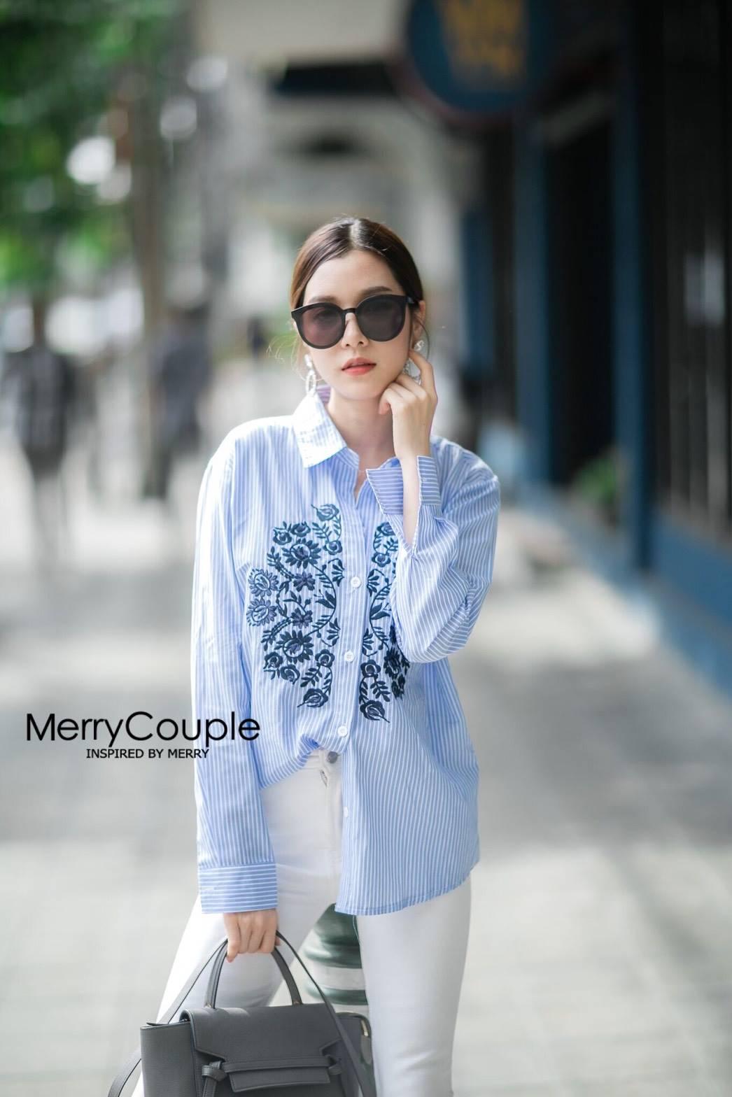 เสื้อผ้าเกาหลีพร้อมส่ง เสื้อเชิ้ตแขนยาวทรงสวย