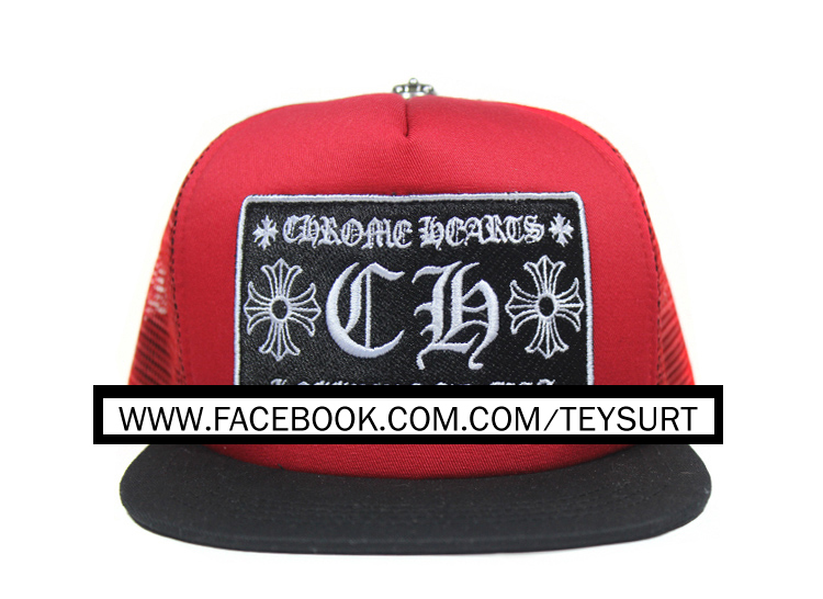 หมวกCHROME HEARTS CH RED/BLACK TRACKER CAP 1:1