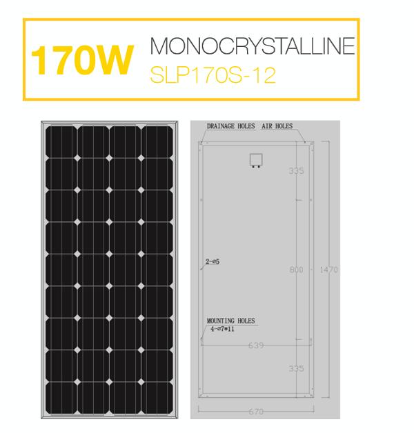 แผงโซล่าเซลล์ Solar Cell 170W Mono