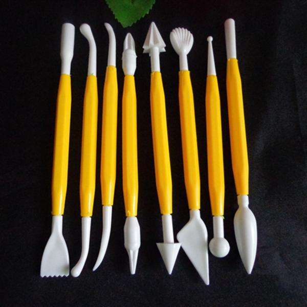 Plastic Fondant Modeling Tools สีเหลือง (8 ชิ้น ต่อชุด)