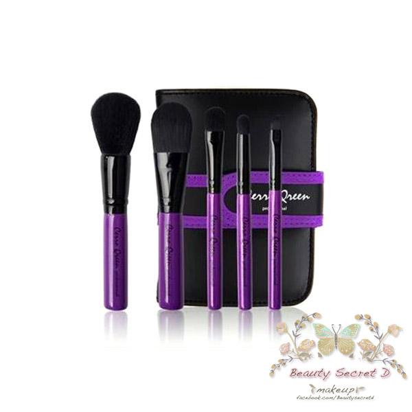 แปรงแต่งหน้า ชุดแปรงแต่งหน้า พร้อมกระเป๋า Cerro Qreen full fiber loaded brush - Purple Rose Set / 5 ชิ้น