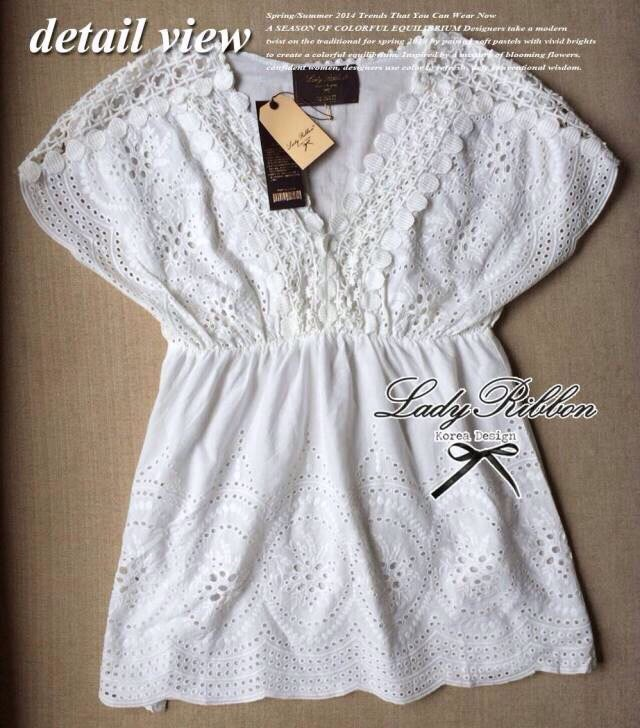 Lady Ribbon's Made Lace V Collar Korea blouse