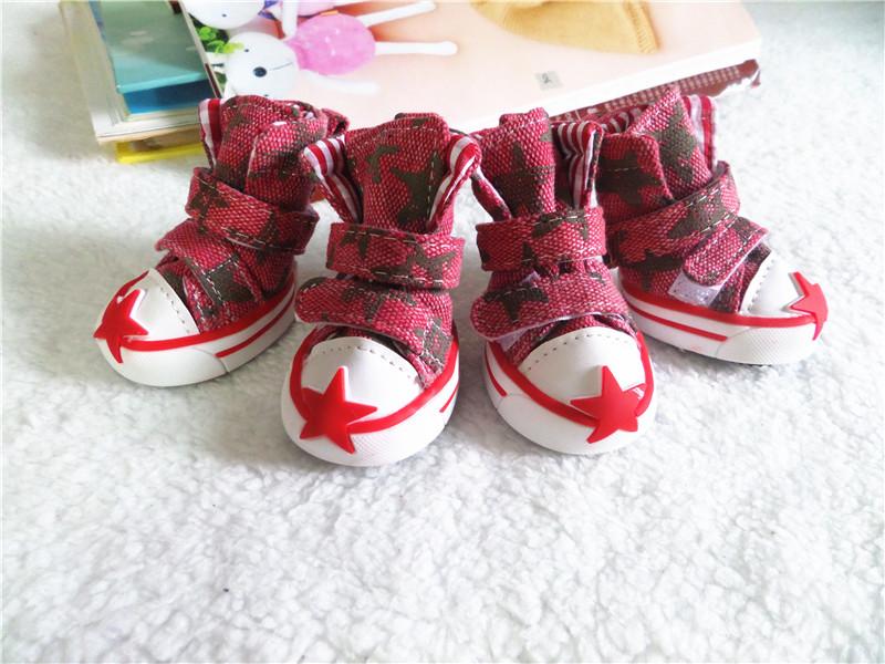 รองเท้าสุนัข รองเท้าแมว แบบผ้าใบ สีแดง ลายดาว (4 ข้าง)