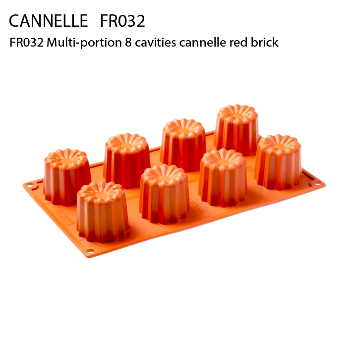 FR032 Multi-portion 8 cavities cannelle red brick