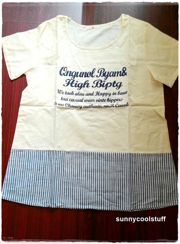 เสื้อผ้าฝ้าย สไตล์ลำลอง สกรีนลายตัวอักษร ชายริ้ว