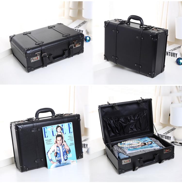 กระเป๋าเดินทางวินเทจ หนังPU สีดำ รุ่น classic 18 นิ้ว