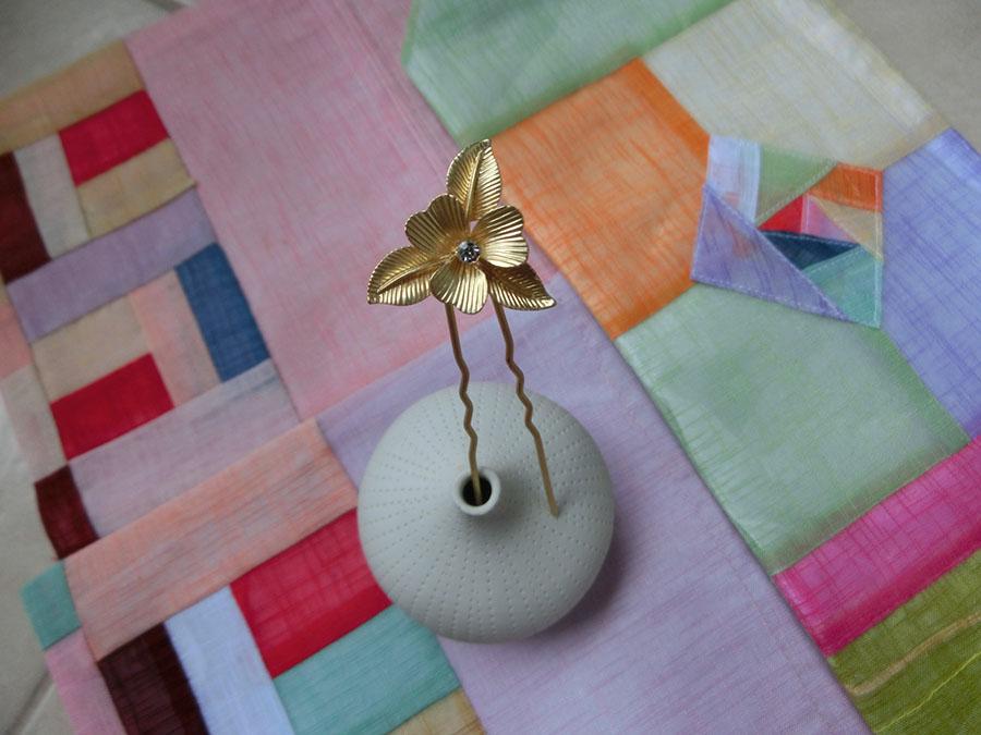 Hanbok hair pin ที่ปักผมฮันบกโรเดียมรูปดอกไม้ รุ่นเล็ก เซต 2 ชิ้น