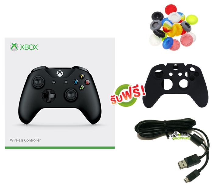 จอย Xbox One S Gen3 Black Controller (Wireless & Bluetooth) (ซิลิโคนอนาล็อก + ซิลิโคนจอย + สาย Micro USB) [XBOXONE/PC]