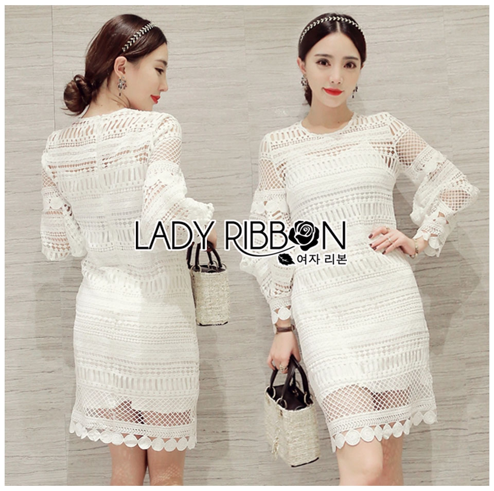 Lady Marion Classy Chic Mixed White Lace Dress L242-79C06