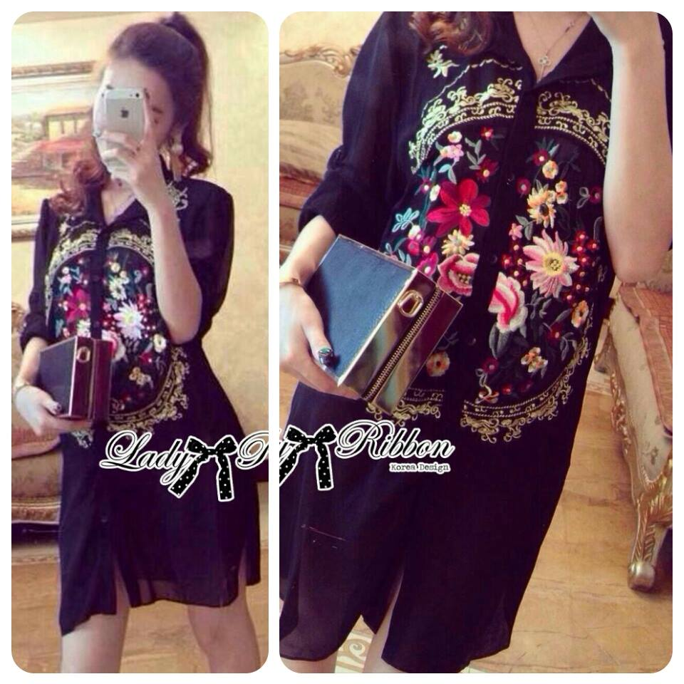DR-LR-273 Lady Kate Flower Embroidered Shirt Dress in Black