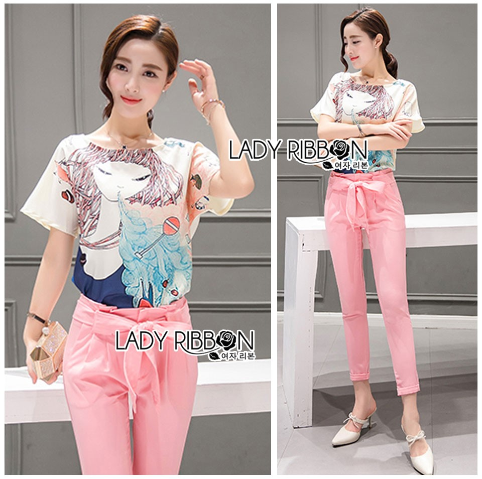 Lady Margie Playful Printed Top and Pink Ribbon Pants Set L261-7506