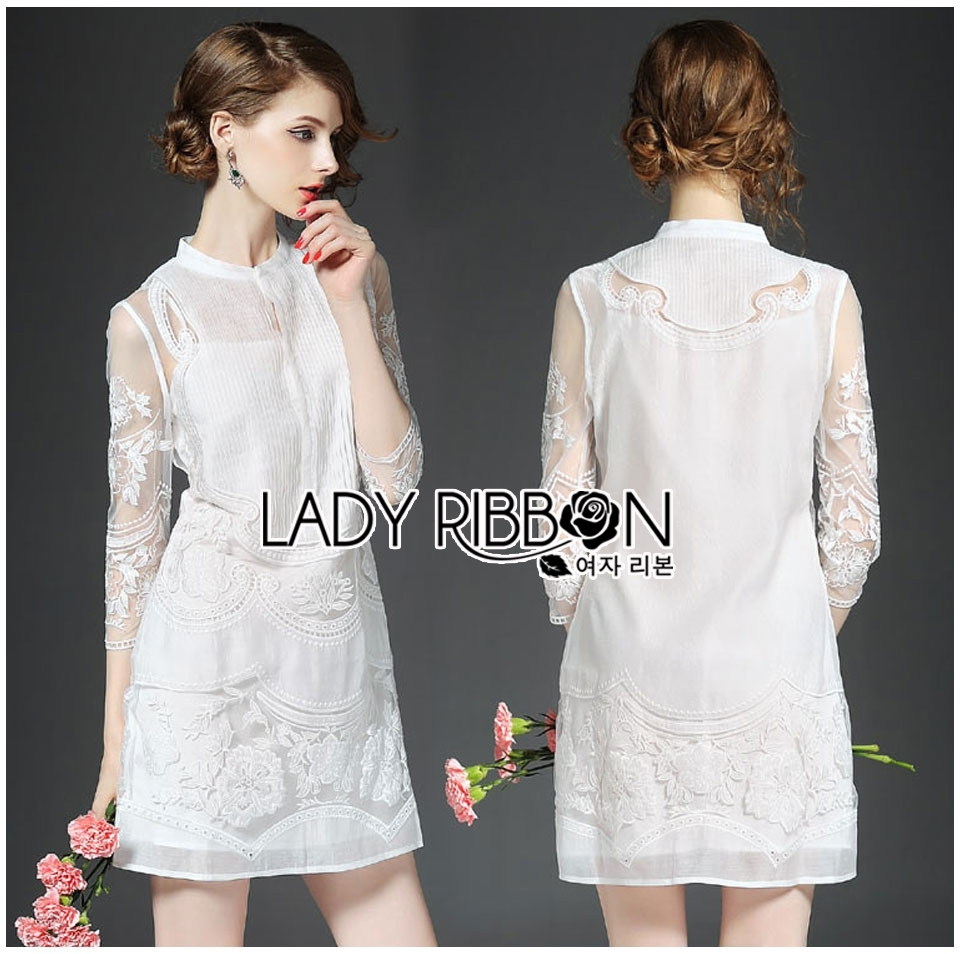 Lady Ashley Royal Sweet Floral Embroidered Organza and Cotton Mini Dress L244-99C12