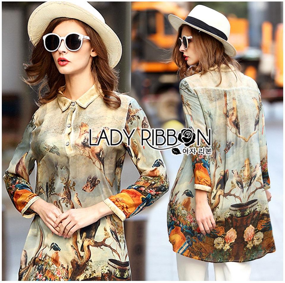 Lady Natalie Natural Wild Birdie Printed Shirt Dress L255-69B07