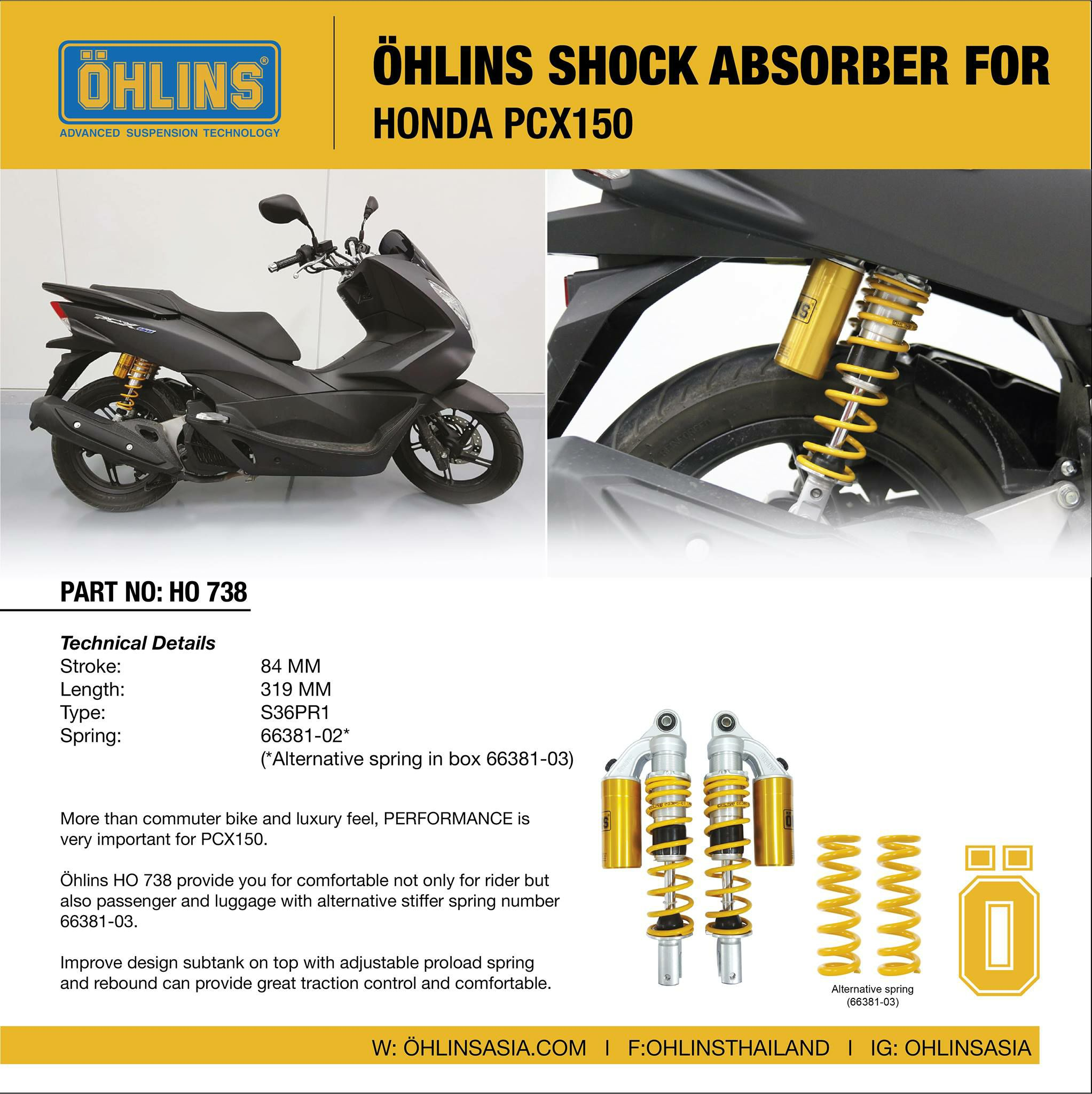 Ohlins Rear Shock For HONDA PCX150 Subtank on top