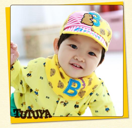 AP078••เซตหมวก+ผ้ากันเปื้อน•• / [สีเหลือง] Bear