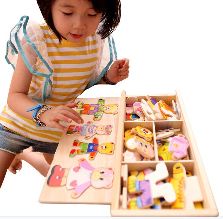 ของเล่นไม้ ชุดแต่งตัวตุ๊กตา ครอบครัวหมี