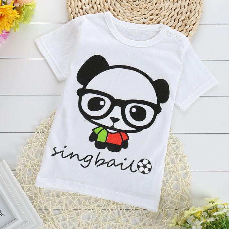 เสื้อยืดเด็กเล็ก ลายหมีแพนด้า มีกระดุมข้างคอ มีขนาดสำหรับเด็ก 1-4 ปี