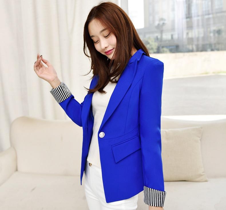 เสื้อสูททำงานผู้หญิงสีน้ำเงิน คอปก แขนยาวพับปลายเสื้อลาย น่ารัก